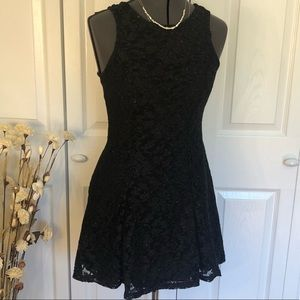 Black Sparkly Fit and Flare Tie Back Mini Dress